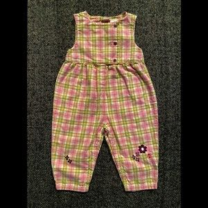 Vintage plaid romper with embroidered details size 12-18m